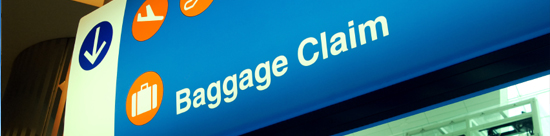 photo of baggage claim sign